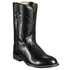 Justin Black Cow Roper Boots for Men