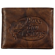 Bass Pro Shops Montana Leather Bifold Wallet - Bass Pro Shops Logo