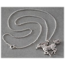 Kabana Jewelry Sterling Silver 20'' Necklace with Horse Pendant