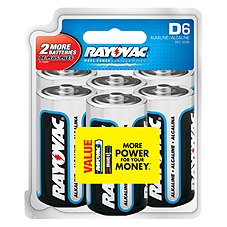 Rayovac D6 Alkaline Battery 6 Pack