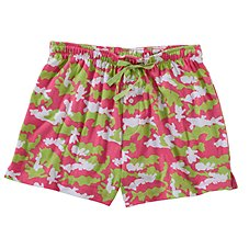 Natural Reflections Kiss My Bass Boxer Shorts for Ladies - Camo