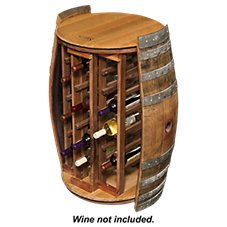 Napa East Collection Wine Barrel 28-Bottle Round Wine Rack