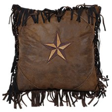 Brown Mustang Collection Embroidered 2-Tone Star Accent Pillow