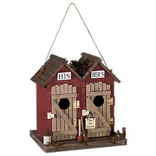 Sunset Vista Designs His and Hers Outhouse Wooden Birdhouse