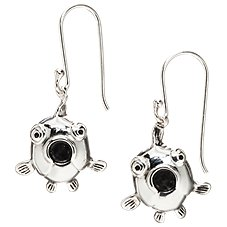Sterling Silver Fish Face Dangle Earrings
