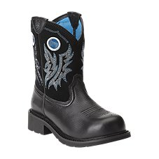 Ariat Fatbaby Cowgirl 8'' Steel Toe Western Boots for Ladies - Black Deertan