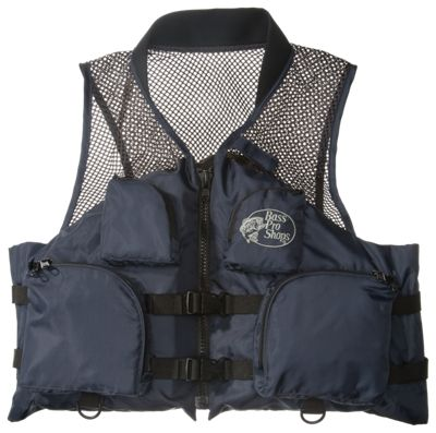 Bass pro shops deluxe mesh fishing life vest for adults for Bass fishing life jacket