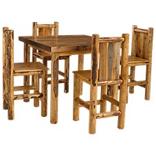 Lodgepole Pub Collection 5-Piece Table and Barstool Set