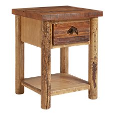 Lodgepole Bedroom Furniture Collection Trout Conceal Top Nightstand with Trout Accent