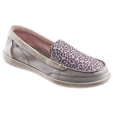 Crocs Walu II Leopard Print Canvas Loafers for Ladies