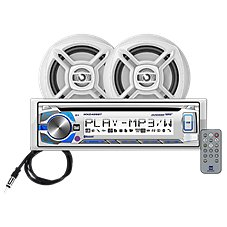 Dual AM/FM/MP3 CD Receiver with Bluetooth, IR Remote and 2 Marine Speakers