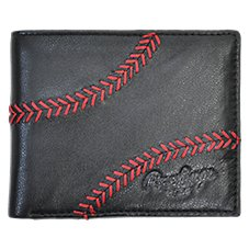 Rawlings Baseball Stitch Logo Bifold Leather Wallet for Men