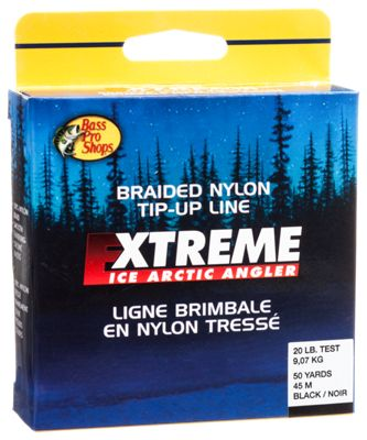 Bass pro shops braided nylon tip up ice fishing line for Bass pro shop fishing line