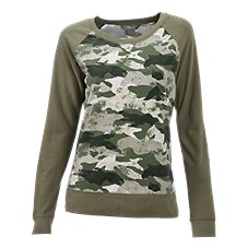 Natural Reflections Camo Terry Top for Ladies