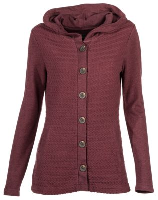 Natural Reflections Cable Knit Hooded Cardigan for Ladies | Bass ...
