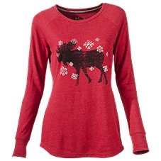 Natural Reflections Moose Graphic Thermal Shirt for Ladies