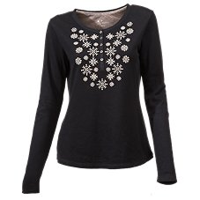Natural Reflections Double-Knit Snowflake Henley for Ladies