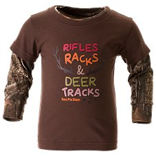 Bass Pro Shops Rifles, Racks, and Deer Tracks Layered T-Shirt for Babies