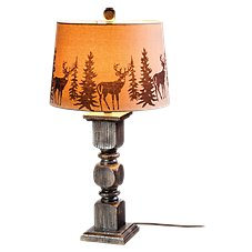 Resin Table Lamp with Deer Print Shade