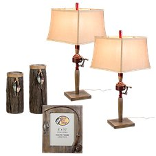 Bass Pro Shops 5-Piece Fishing Table Lamps and Accessories Set