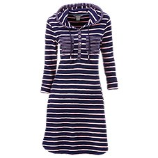 Natural Reflections Striped Knit Hooded Dress for Ladies