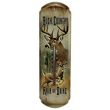 River's Edge Buck Country Tin Thermometer
