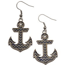 Heart on Your Sleeve Chevron Anchor Earrings