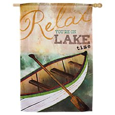Evergreen Lake Time Suede Reflections House Flag