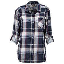 Natural Reflections Double Cloth Plaid Button-Down Shirt for Ladies