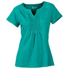Natural Reflections Smocked Notch-Neck Top for Ladies
