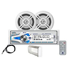 Dual AM/FM/MP3 Mechless Receiver with Bluetooth, IR Remote, 2 Marine Speakers and Splash Guard