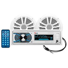 Boss Audio Systems MR632UAB AM/FM Marine Receiver with Bluetooth and 2 Speakers