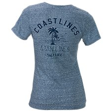 Salt Life Coast Lines and Tan Lines V-Neck T-Shirt for Ladies