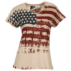 Natural Reflections Vintage Flag V-Neck Top for Ladies