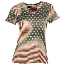 Natural Reflections Sublimation Flag Top for Ladies