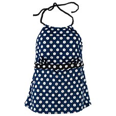 Cole of California Navy Dot Mix and Match Collection Halter Tankini for Ladies