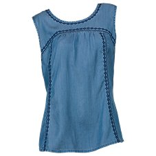 Bob Timberlake Sleeveless Embroidered Chambray Top for Ladies