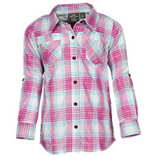 Bass Pro Shops Plaid Button-Down Shirt with Crochet Panel for Girls