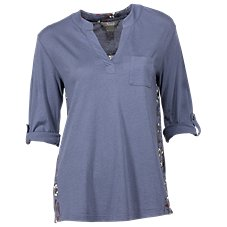 Natural Reflections Print Back Notch-Neck Top for Ladies