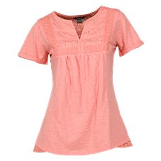 Natural Reflections Lace Yoke Notch-Neck Top for Ladies