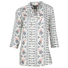 Natural Reflections Printed Lace-Up Shirt for Ladies