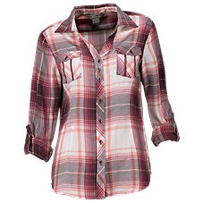 Natural Reflections Plaid Button-Down Shirt for Ladies