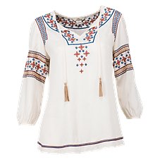 Bob Timberlake Embroidered Peasant Blouse for Ladies 189974