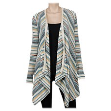 Natural Reflections Stripe Open-Front Cardigan for Ladies