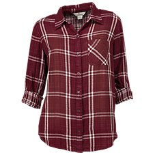 Bob Timberlake Distressed Plaid Shirt for Ladies
