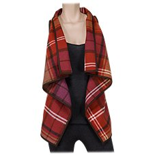 Natural Reflections Plaid Open-Front Vest for Ladies