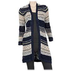 Natural Reflections Striped Pointelle Long Cardigan for Ladies