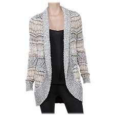 Natural Reflections Marled Yarn Open-Front Cardigan for Ladies