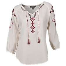 Natural Reflections Embroidered Peasant Blouse for Ladies