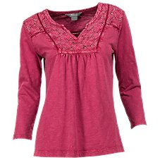 Natural Reflections Acid Washed Notch-Neck Top for Ladies